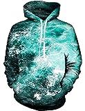 Idgreatim Unisex Kapuzenpullover 3D Bedruckte Tunnelzug Pullover Swearshirt Mit Taschen
