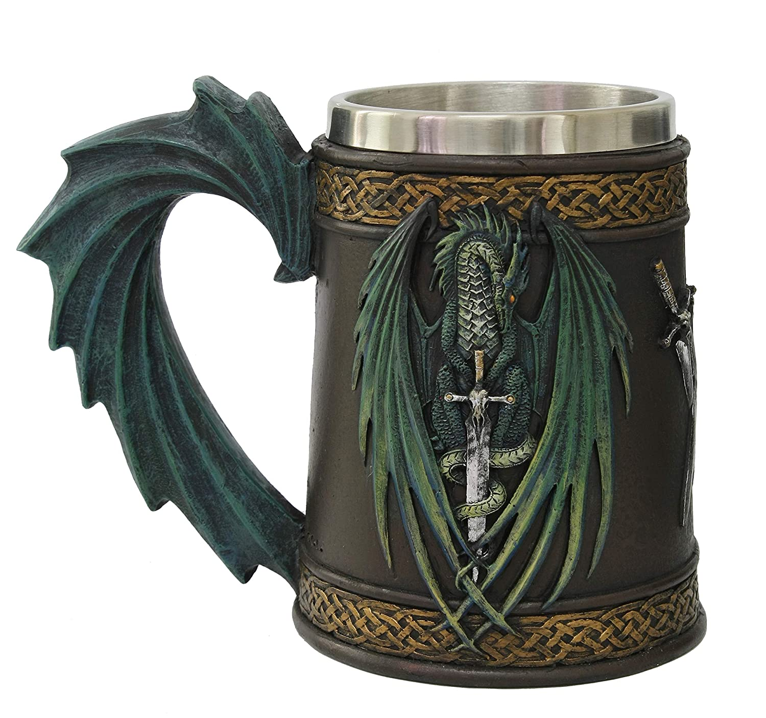 Amazing Gifts Legend Of Swords Dragon Fantasy Beer Stein Tankard Cup Stainless Steel Inner Blue