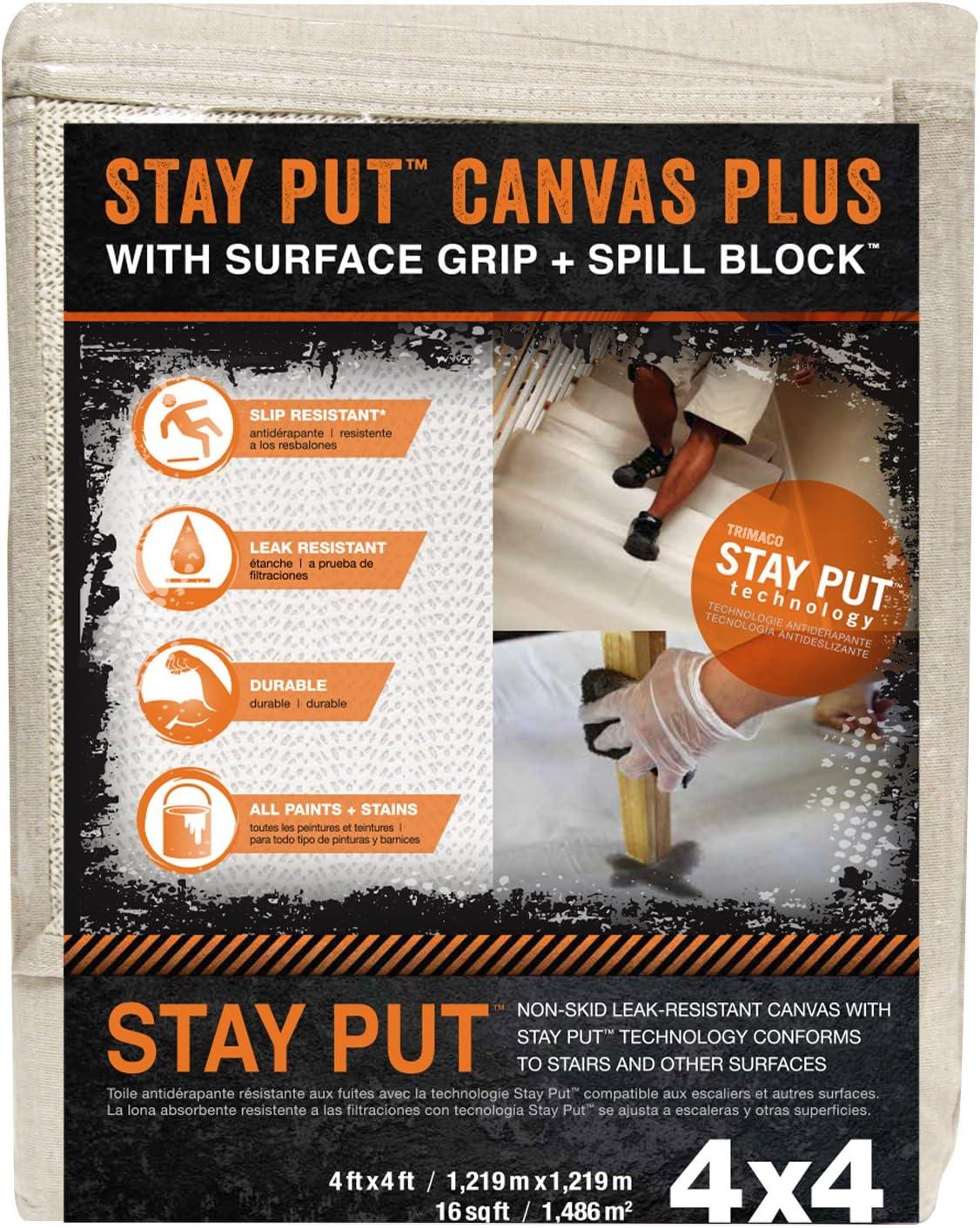 Trimaco 04324 Slip Resistant Dropcloth Stay Put Canvas Plus Drop Cloth, x 4-feet, Tan - -