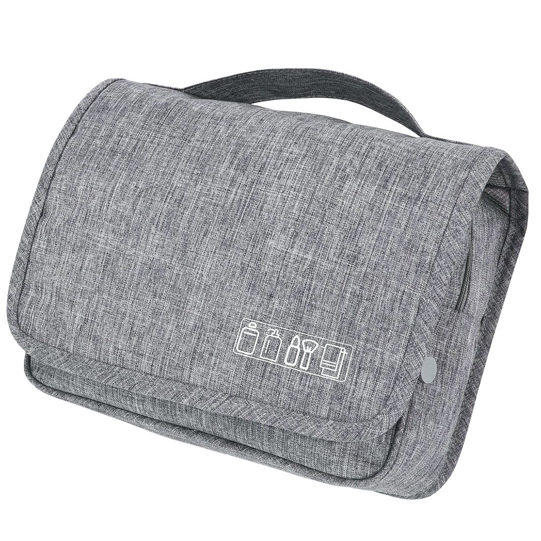 TePiLl Travel Toiletries Comestic Bag Case Portable Hanging Makeup Bathroom Brush Storage Pouch for Business, Camping, Vacation(Gray)