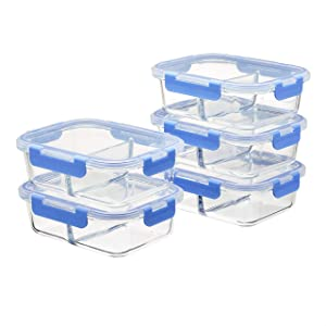 Amazon Basics 2 Compartment Glass Meal Prep Containers, 36 ounces, 10-Piece Set, 5 Containers and 5 BPA-Free Lids