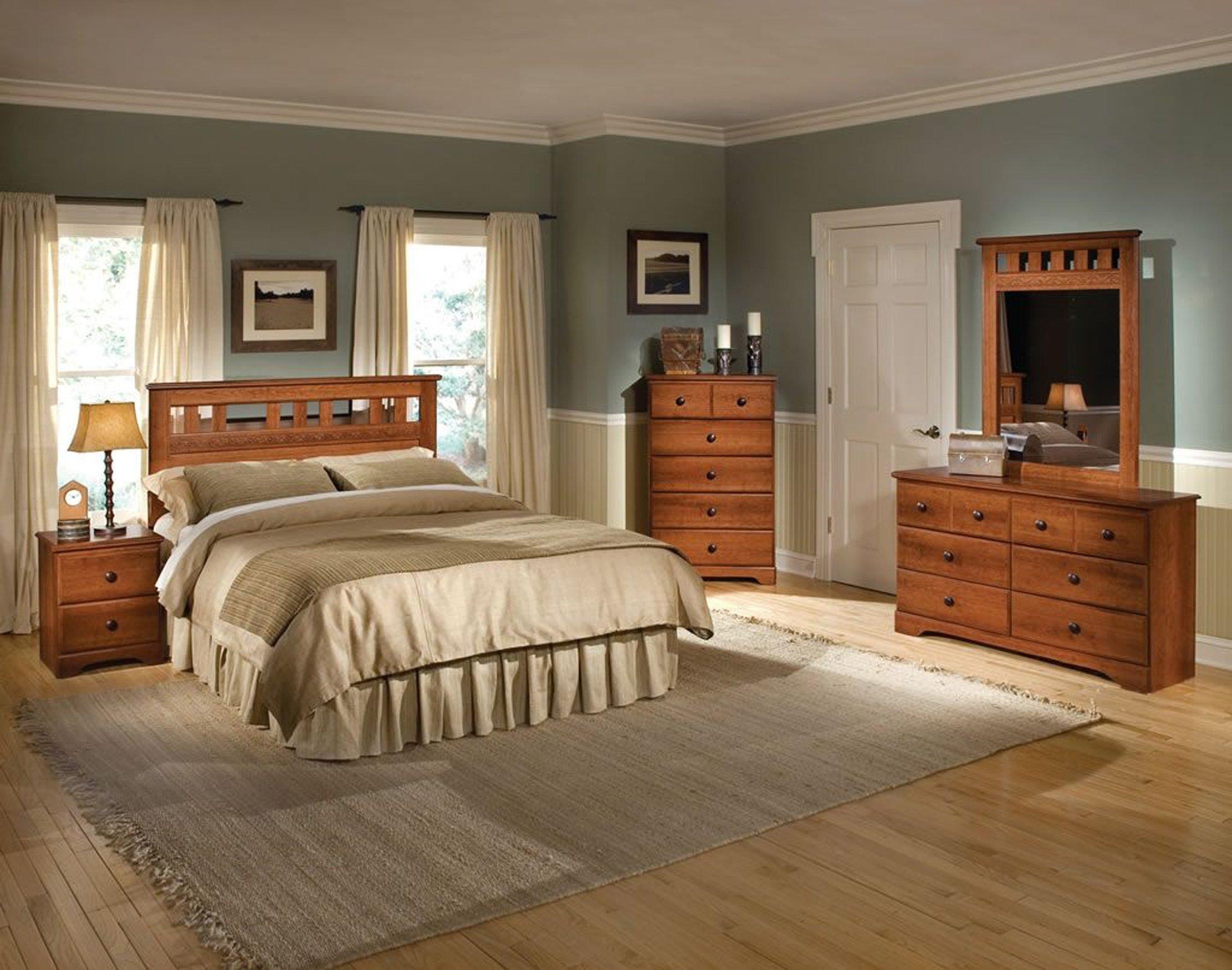 Cambridge 98108A5Q1-LC Seasons Five Piece Suite: Queen Bed, Dresser, Mirror, Chest, Nightstand Bedroom Sets Indoor Furniture, Brown