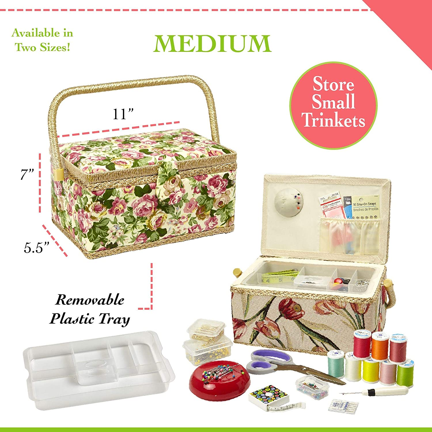 Medium by Adolfo Design Built-in Pin Cushion and Interior Pocket 11 x 7 x 5.5 Sewing Basket with Rose Floral Print Design- Sewing Kit Storage Box with Removable Tray