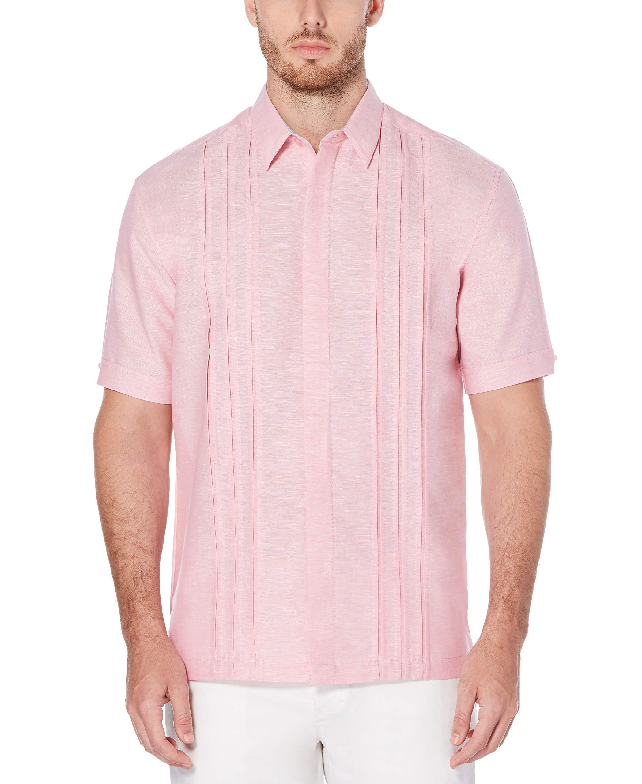 Cubavera Mens Short Sleeve Linen-Blend Button-Down Shirt with Tuck Details