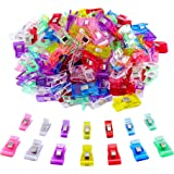 IPOW 100 PCS-2 Sizes|70 Small 30 Medium Plastic Clips Multicolor for Sewing Clips,Crafting,Crochet and Knitting,All Purpose Clips for Quilting Binding Clips,Paper Clips,Blinder Clips