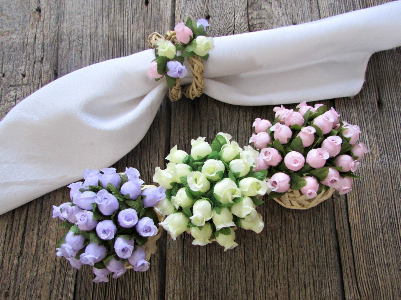 3 Flower Ball Centerpieces- Pastel Pink Purple Yellow Rose- Wicker Ball- Wedding Table Decoration- Spring Party Decor