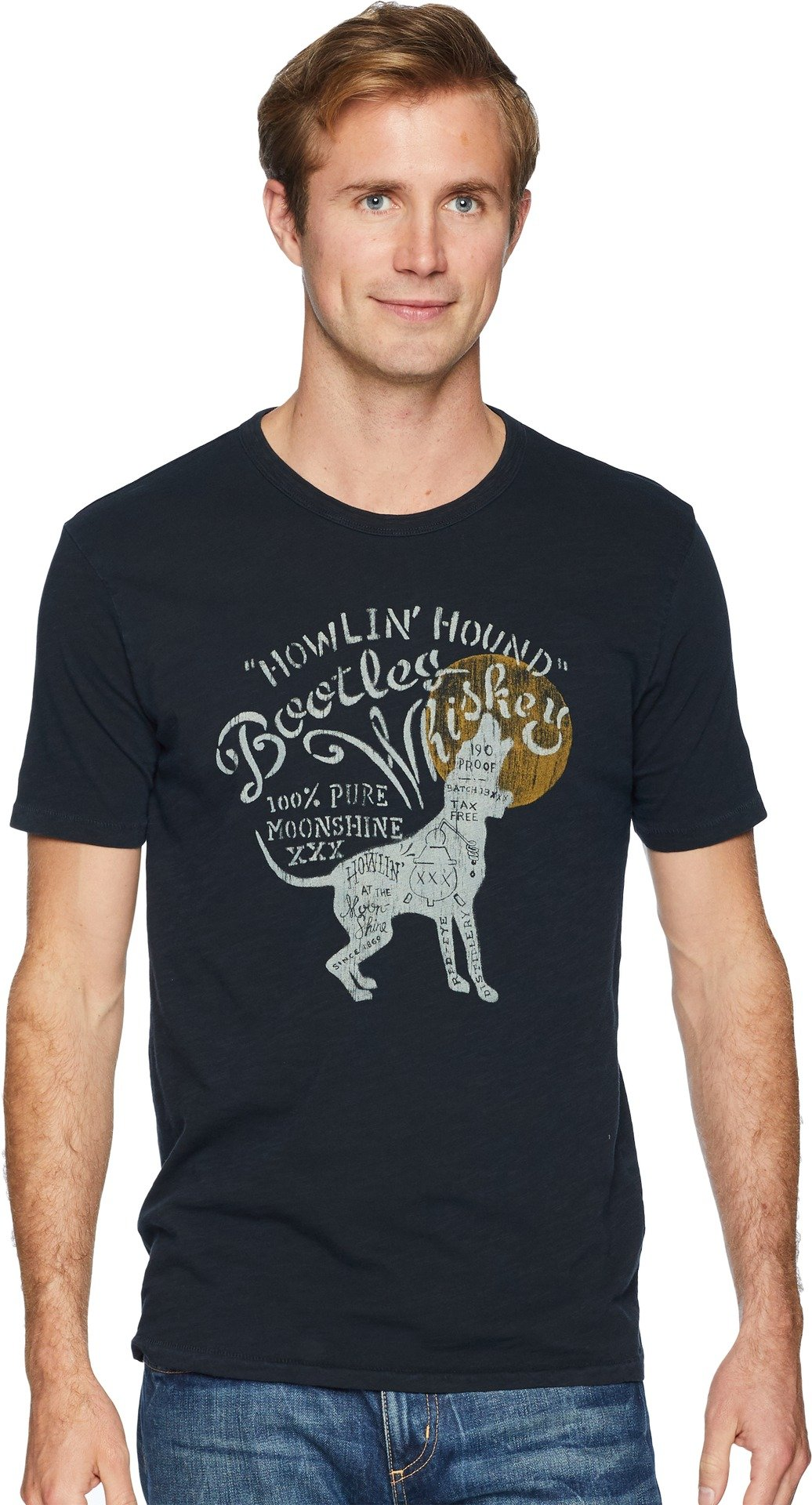 Lucky Brand Men's Howlin Hound Bootleg Graphic Tee, Jet Black, S