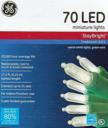 GE Set of 70 Traditional StayBright LED Warm White Lights