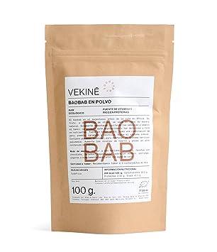 Baobab en polvo Ecológico 100 gr superalimentos VEKINE minerales calcio potasio magnesio combate rampas fibra vitamina C: Amazon.es: Hogar