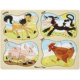 Melissa & Doug Farm 4-in-1 Wooden Peg Puzzle - Horse, Cow, Pig, and Hen (16 pcs)