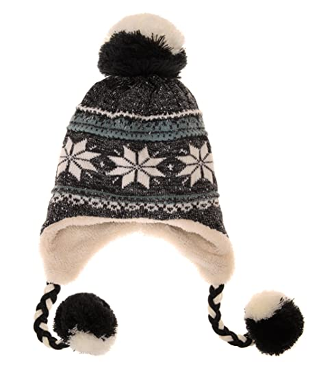 ba5847fc700 Dosoni Women Girl Winter Hats Knit Soft Warm Earflap Hood Cozy Large  Snowflake Beani (Black. Roll over image to ...