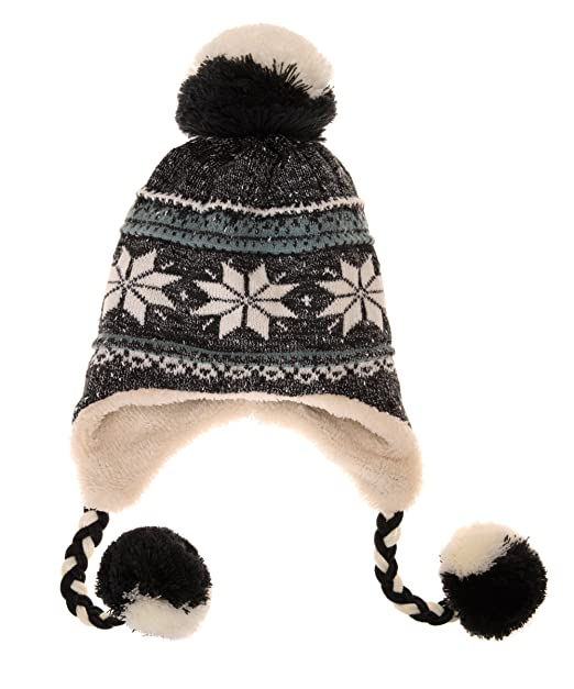 ddc3c5ba Dosoni Women Girl Winter Hats Knit Soft Warm Earflap Hood Cozy Large  Snowflake Beani