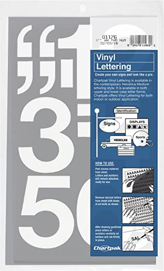 Amazon Com Chartpak Self Adhesive Vinyl Numbers 3 Inches High White 10 Per Pack 01176 Office Products