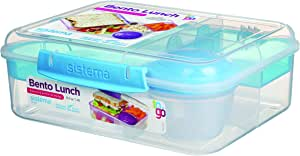 Sistema 21690 To Go Collection Bento Box Clear, 6.9 Cup Assorted Color Klips