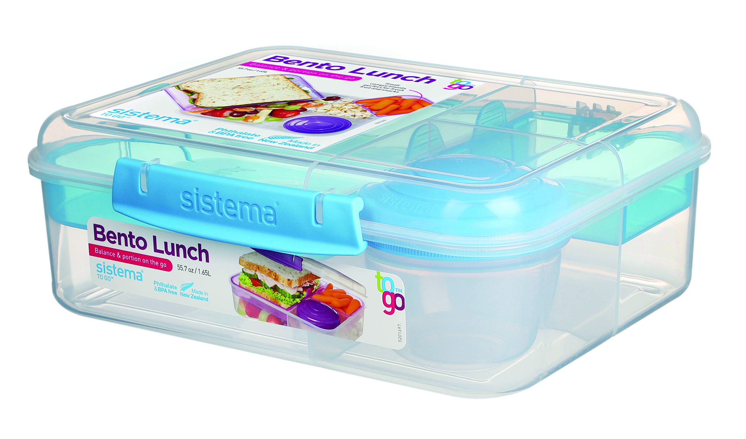 Sistema Bento Box TO GO | Lunch Box with Yoghurt/Fruit Pot | 1.65 L | BPA-Free | Assorted Colours (Varies by Pack) | 1 Count