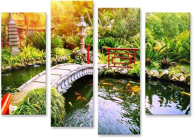 Cuadro Cuadros Jardín japonés con Peces koi Nadando en el Estanque. Fondo de la Naturaleza PIG-4erP-DE: Amazon.es: Hogar