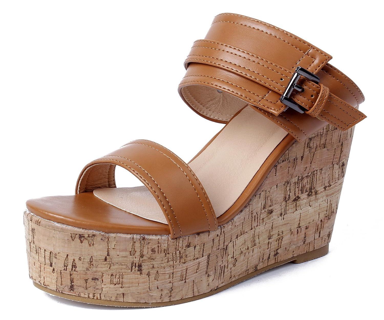 AgeeMi Shoes Femmes Shoes Sandales Compensé Plateforme AgeeMi Ouvertes Brun Bout Lacets Chaussures Brun 5f6237c - latesttechnology.space