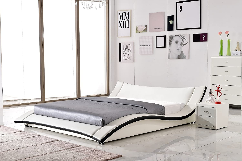 Amazon.com: US Pride Furniture Riley Faux Leather Contemporary Bed ...