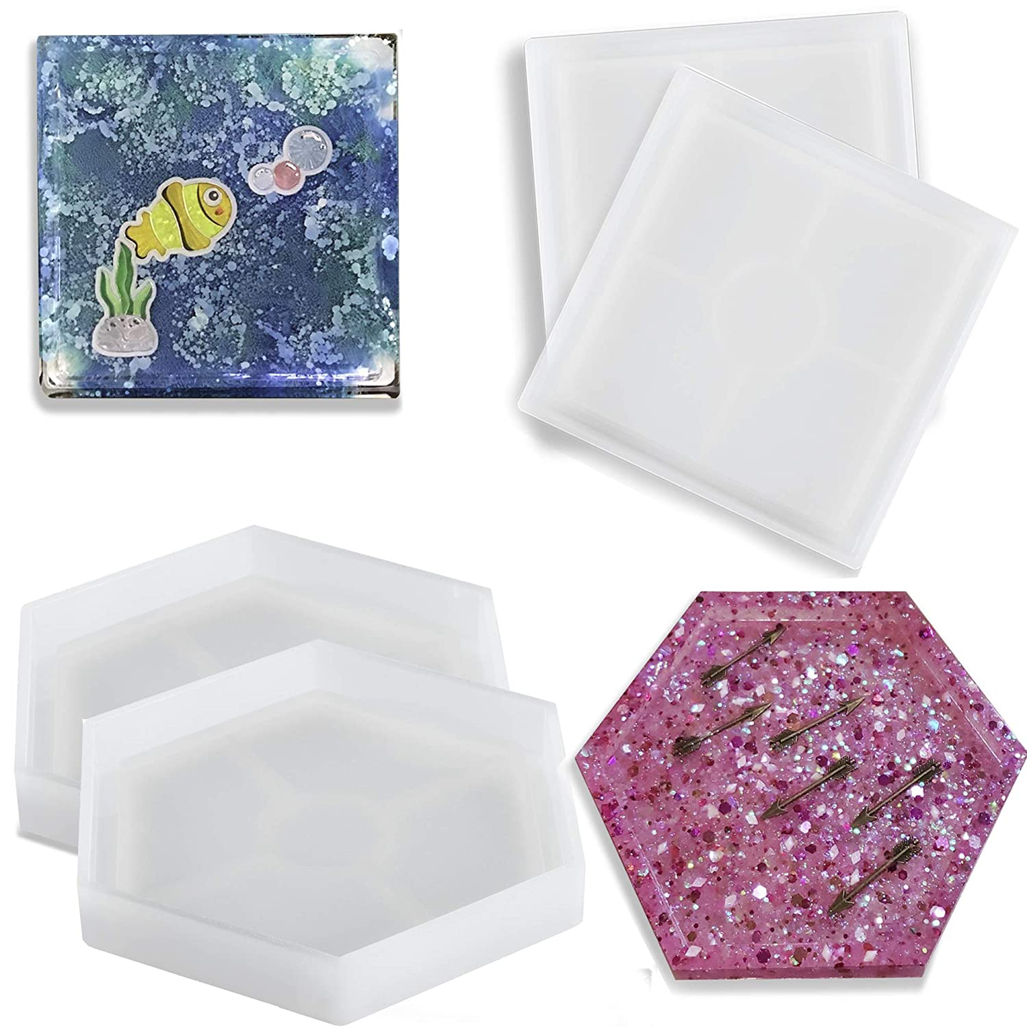 Beautyflier Pack of 4 Silicon Coaster Mold DIY Silicon Resin Molds for Casting with Resin Cement Square and Hexagon Molds