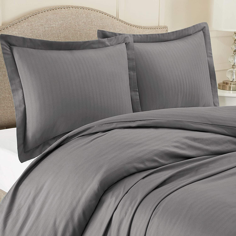 "Nestl Bedding Duvet Cover 3 Piece Set – Ultra Soft Double Brushed Microfiber Bedding – Damask Dobby Stripe Comforter Cover and 2 Pillow Shams - Full/Queen 90"" x 90"" - Dark Gray"