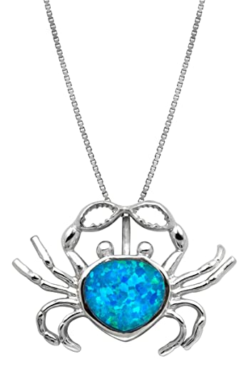 8b453b06f20 Honolulu Jewelry Company Sterling Silver Simulated Blue Opal Crab Pendant  Necklace with 18 quot  ...