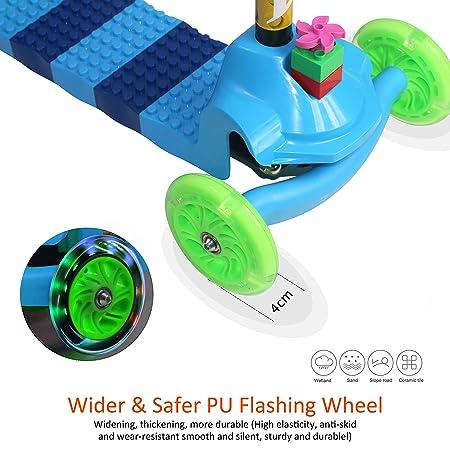 Amazon.com: Patinete de 3 ruedas Fvino con luces y 4 alturas ...