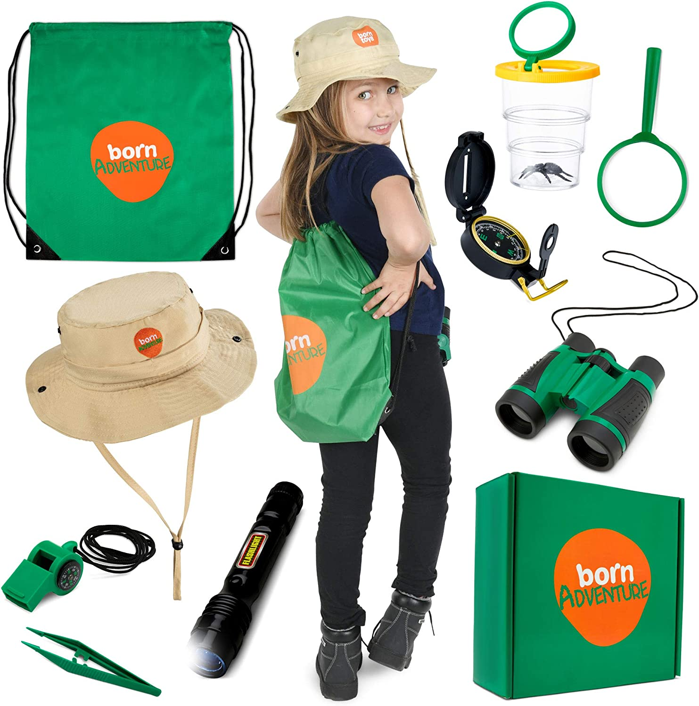 Born Toys Kids Adventure Kit y Outdoor Explorer Set, con Backyard Safari Hat para Outdoor Nature, Bug Catcher Kit, Kids Camping, Senderismo, Vestir y Juego de Roles para niños, Binoculares