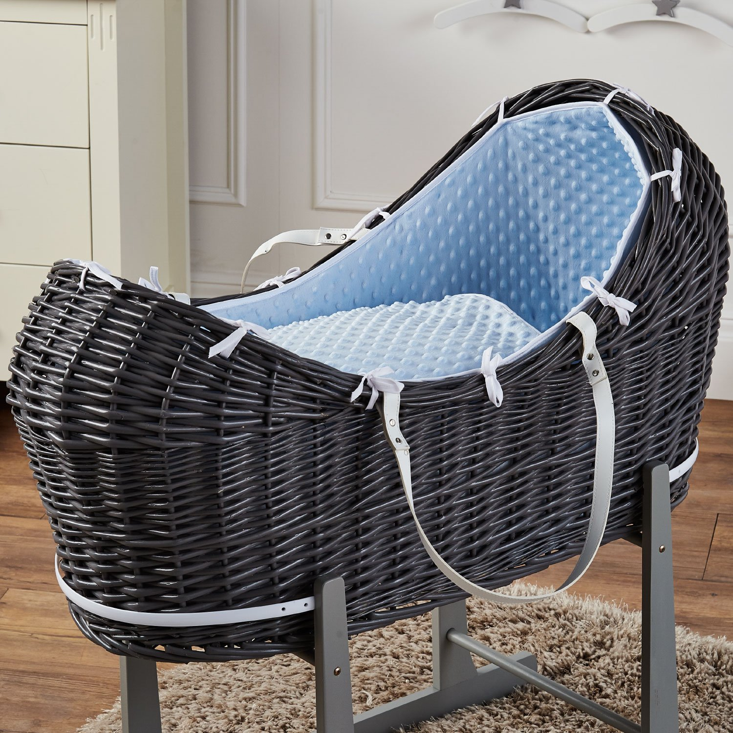 Blue Dimple Grey Wicker Moses Basket Pod For-Your-Little-One