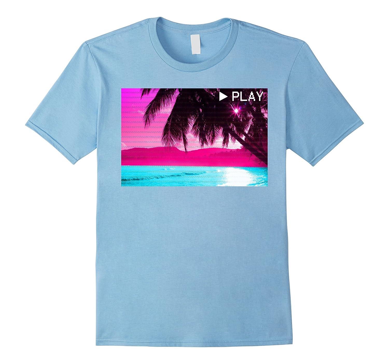 Vaporwave Aesthetic VHS Glitch Tropical Beach Otaku Te-Vaci