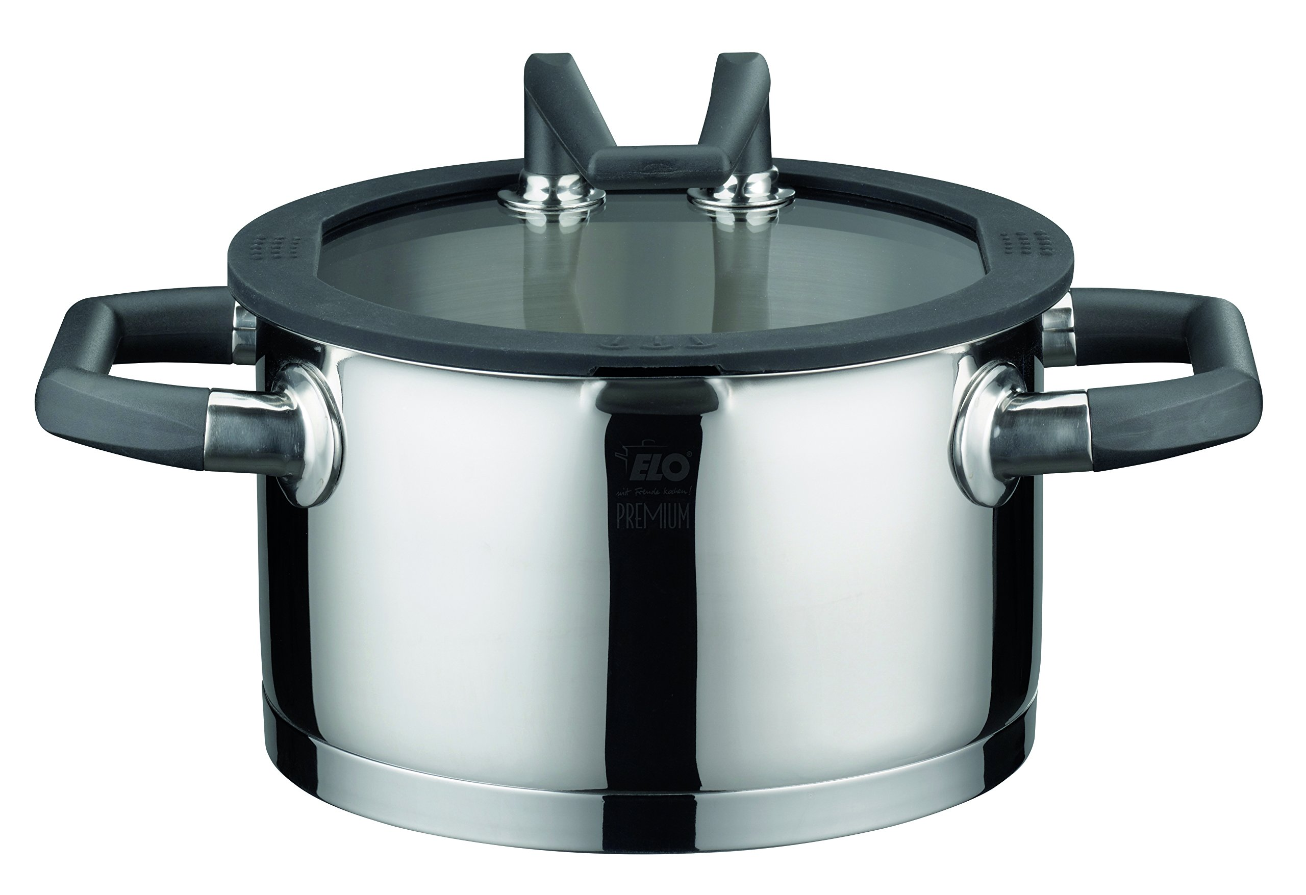 ELO 30220 Black Pearl Premium Stainless Steel Sauce Pot with Glass Lid, 3-1/2-Quart by ELO Cookware
