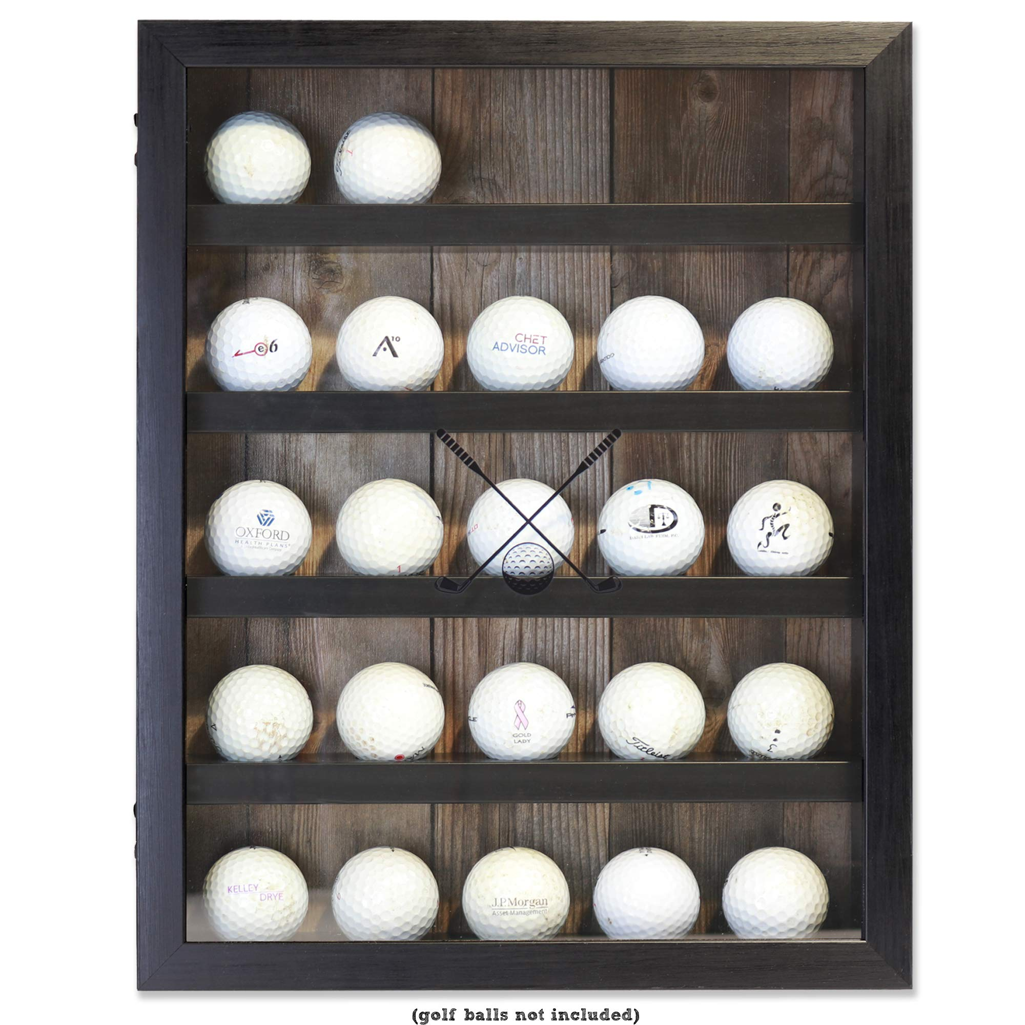 Lawrence Frames 11x14 Golf Display Case-Holds 25 Logo Balls Shadow Box Frame Black