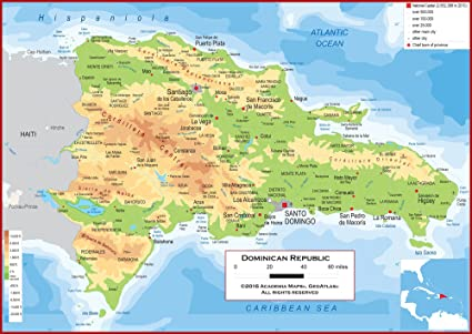 Amazon.com : Academia Maps - Wall Map of Dominican Republic - Fully ...