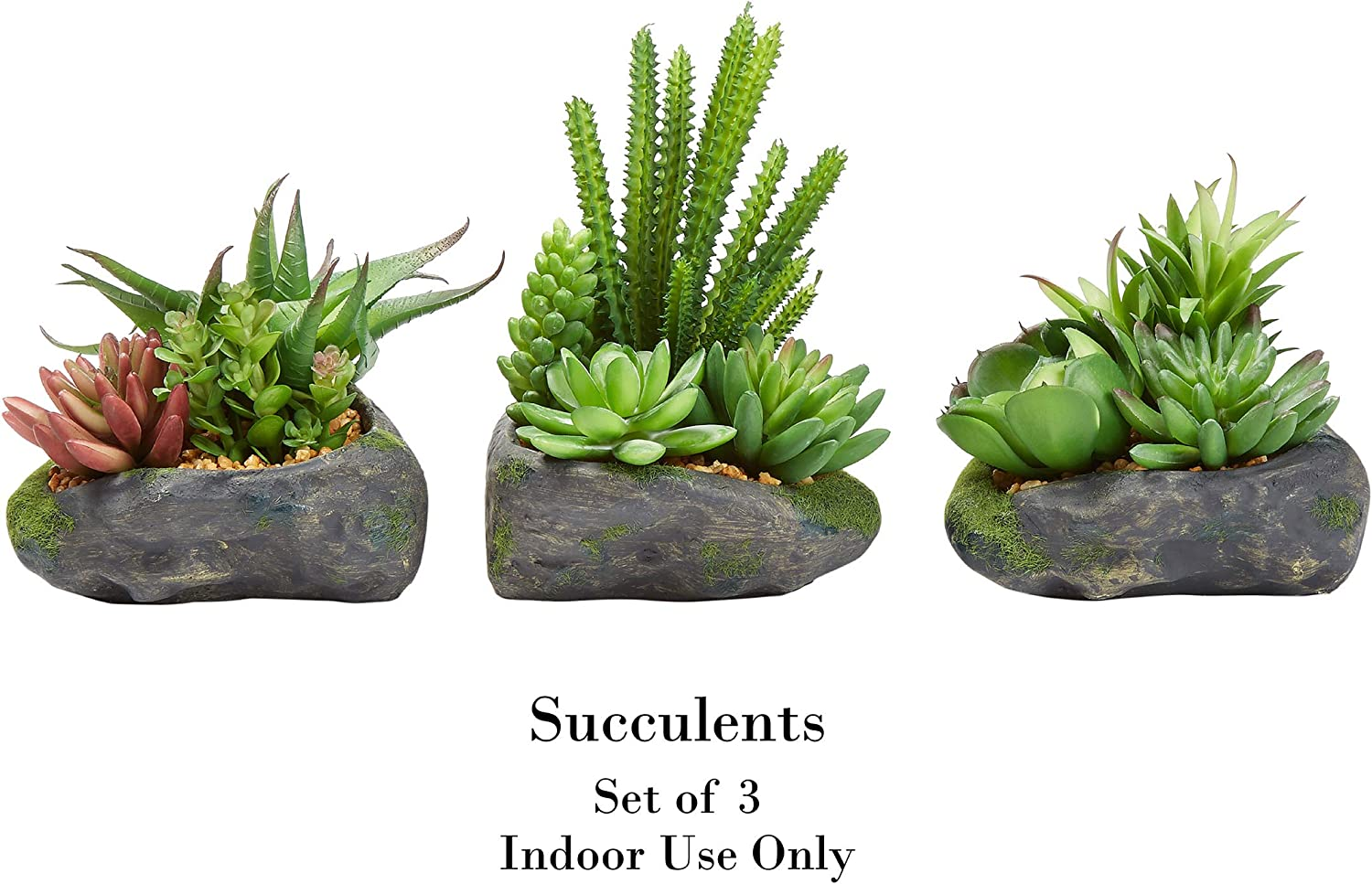 Pure Garden Artificial Succulent Plant Arrangements In Faux Stone Pots 3 Piece Set In Assorted Sizes Lifelike Greenery Home Decoration Home Kitchen