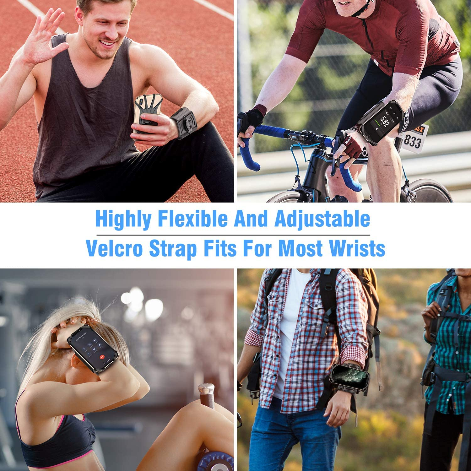 VUP Wristband Phone Holder 360/° Rotatable /& Detachable Sports Wristband for iPhone 11 Pro Max XR XS X 8 7 6 6s Plus 4-6.5Phones Black Great for Hiking Biking Walking Gym Google Pixel Galaxy