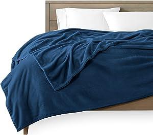 Bare Home Microplush Fleece Blanket - King Size - Ultra-Soft - Luxurious Fuzzy Fleece Fur - Cozy Lightweight - Easy Care - All Season Premium Bed Blanket (King, Dark Blue)