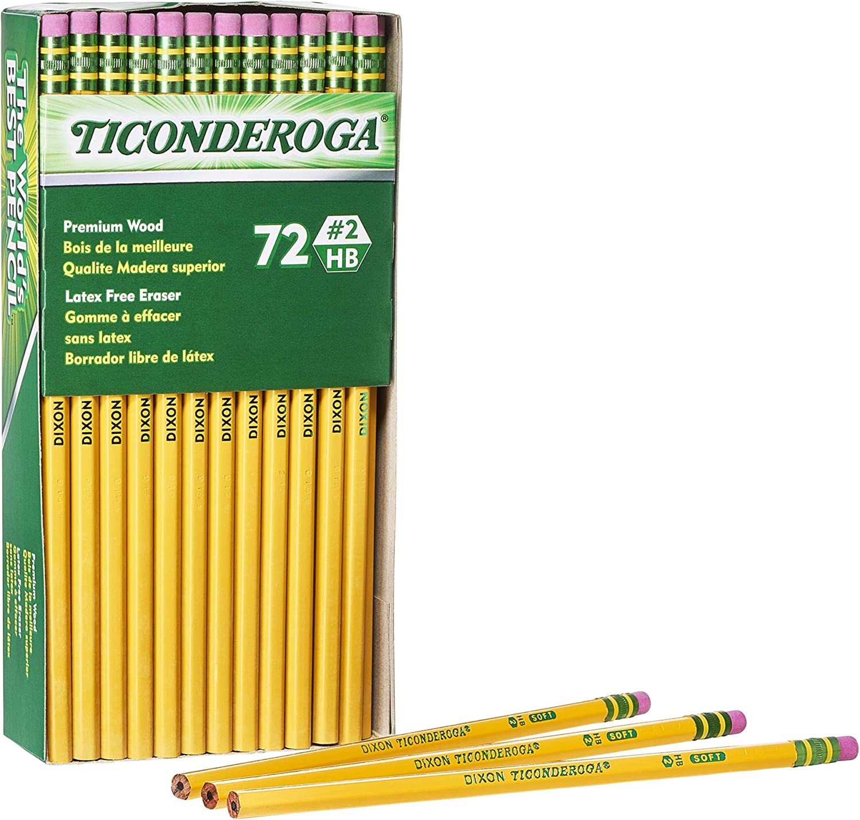 TICONDEROGA Pencils, Wood-Cased, Unsharpened, Graphite #2 HB Soft, Yellow, 72-Pack (33904)