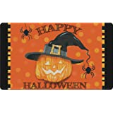 Toland Home Garden Witch Pumpkin 18 x 30 Inch Decorative Happy Halloween Floor Mat Pumpkin Spider Doormat