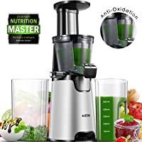 Aicok Juicer Masticating Juicer Machine 3 in 1 Slow Juicer with Reverse Function, Vertical Cold Press Juicer-Making Juice, Jam and Sorbet, 150W