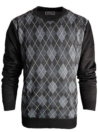 4b3762b99db Vitorio Romani Men's Slim Fit Lightweight Knitted Long Sleeve Argyle  Crew-Neck Sweater Charcoal/Black/Gray
