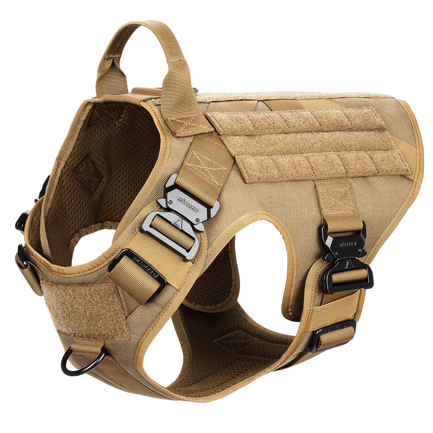 ICEFANG Tactical Dog Harness,K9 Working Dog Vest,No Pulling Front Clip Leash Attachment (L (28''-35'' Girth), Coyote Brown-4x Metal Buckle)