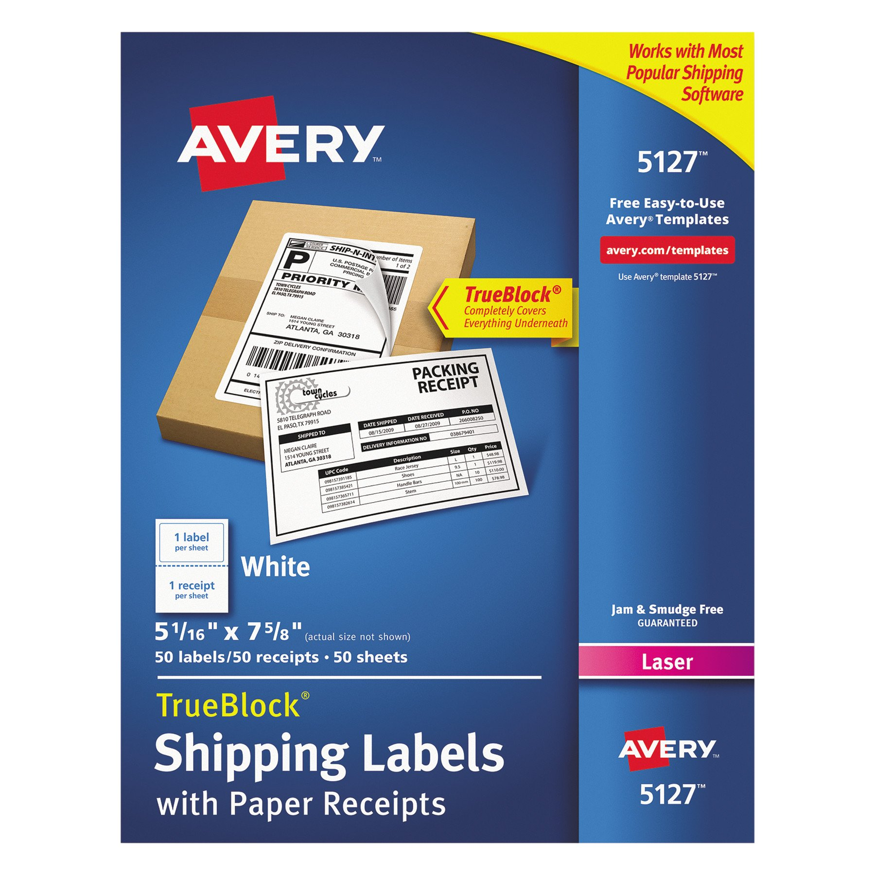 Avery Shipping Labels w/Paper Receipts and TrueBlock Technology for Laser Printers 5-1/16 x 7-5/8, Pack of 50 (5127) by AVERY
