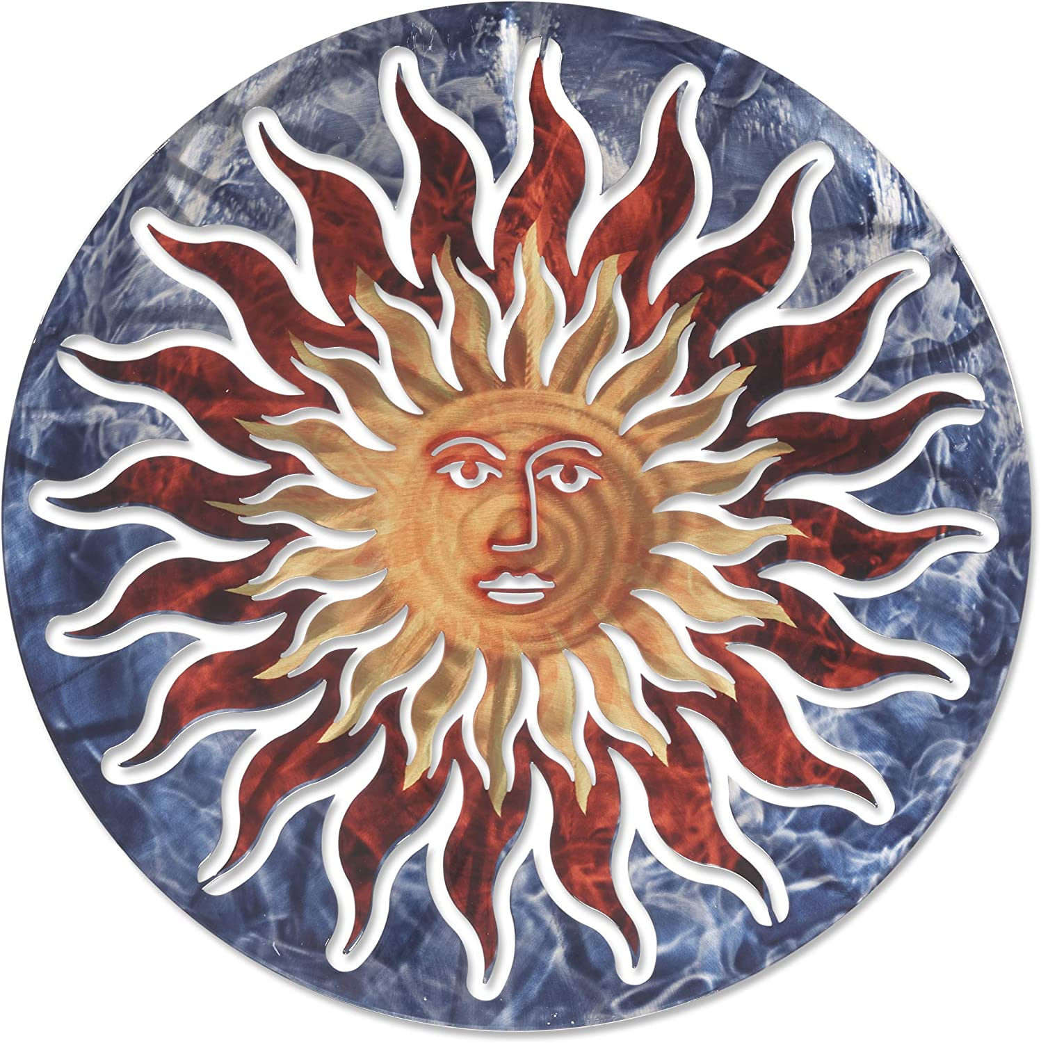 3D Metal Wall Art - Smiling Sun Wall Decor - Handmade in the USA for Use Indoors or Outdoors - Blue Red and Yellow