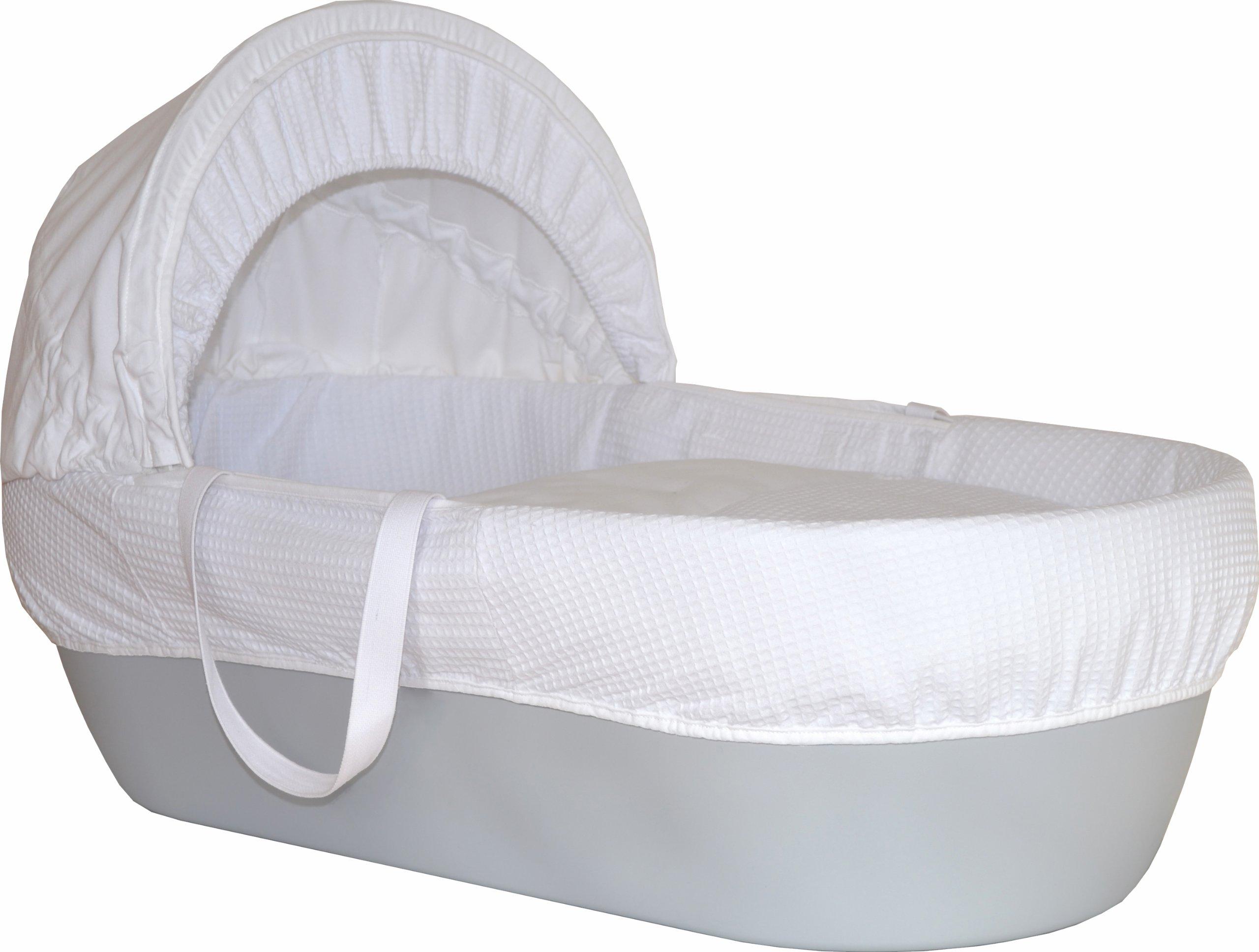 Shnuggle Moses Basket with White Waffle Cotton Dressing Hood and Mattress Pebble Grey Basket