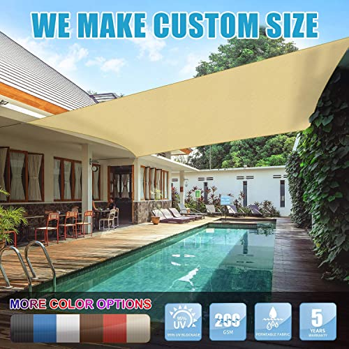 Amgo Custom Size 23 x 23 Custom Size Beige Rectangle Sun Shade Sail Canopy Awning, 95 UV Blockage, Water Air Permeable, Commercial and Residential, 5 Years Warranty Available for Custom Sizes