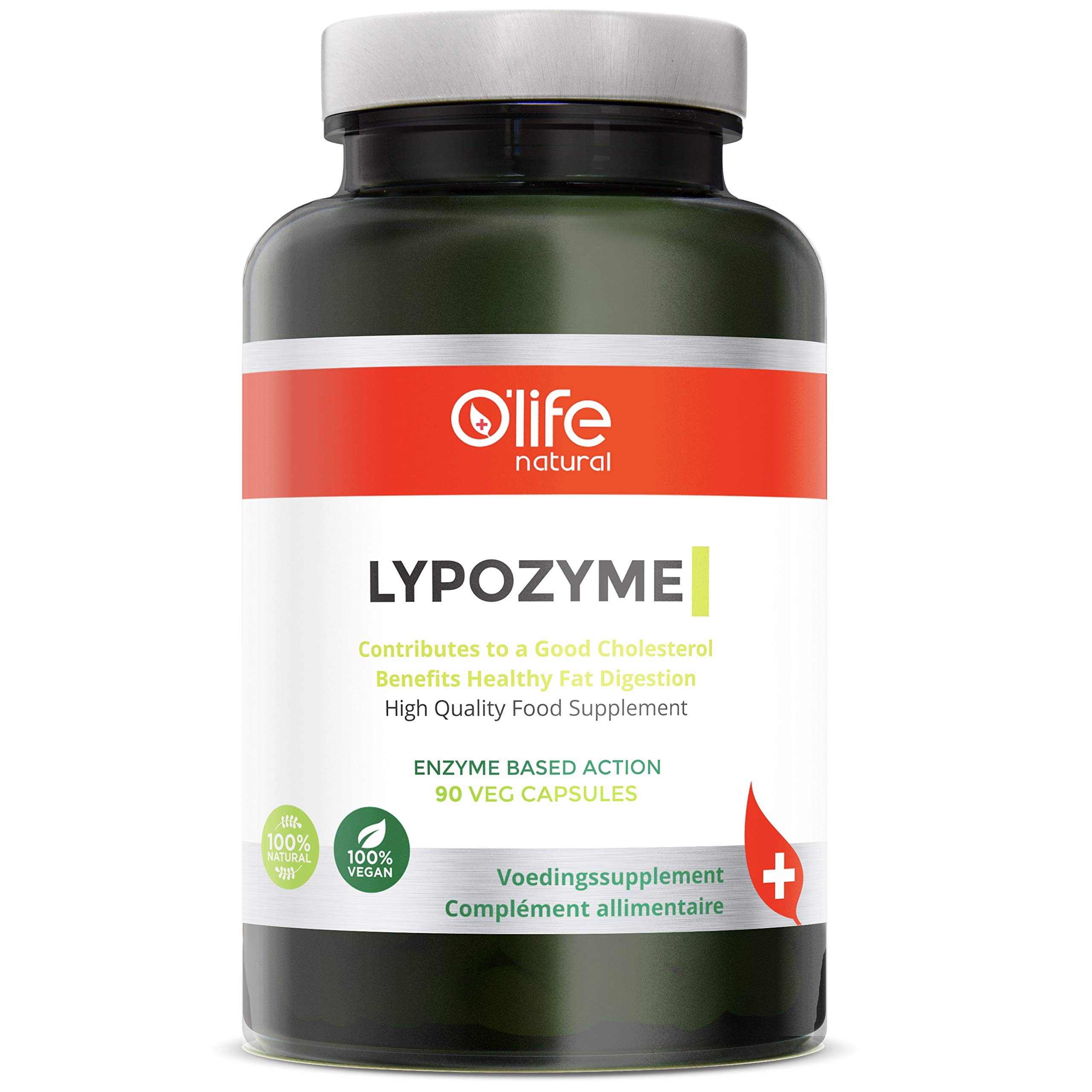 O'Life Natural's LYPOZYME - Advanced Lipase Enzyme Formula - Daily Cholesterol Lowering Support Supplement - Promote Carbs & Fats Digestion - 90 Veg Capsules