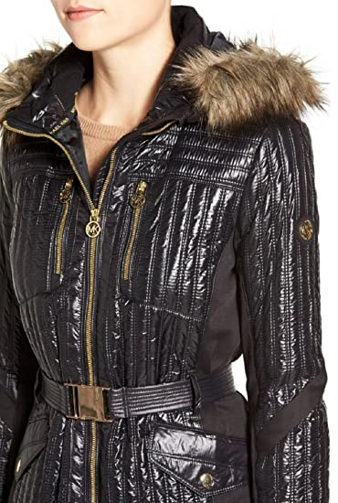 Michael Michael Kors Women's Belted Hooded Jacket With Faux Fur Trim, Black by Michael Kors