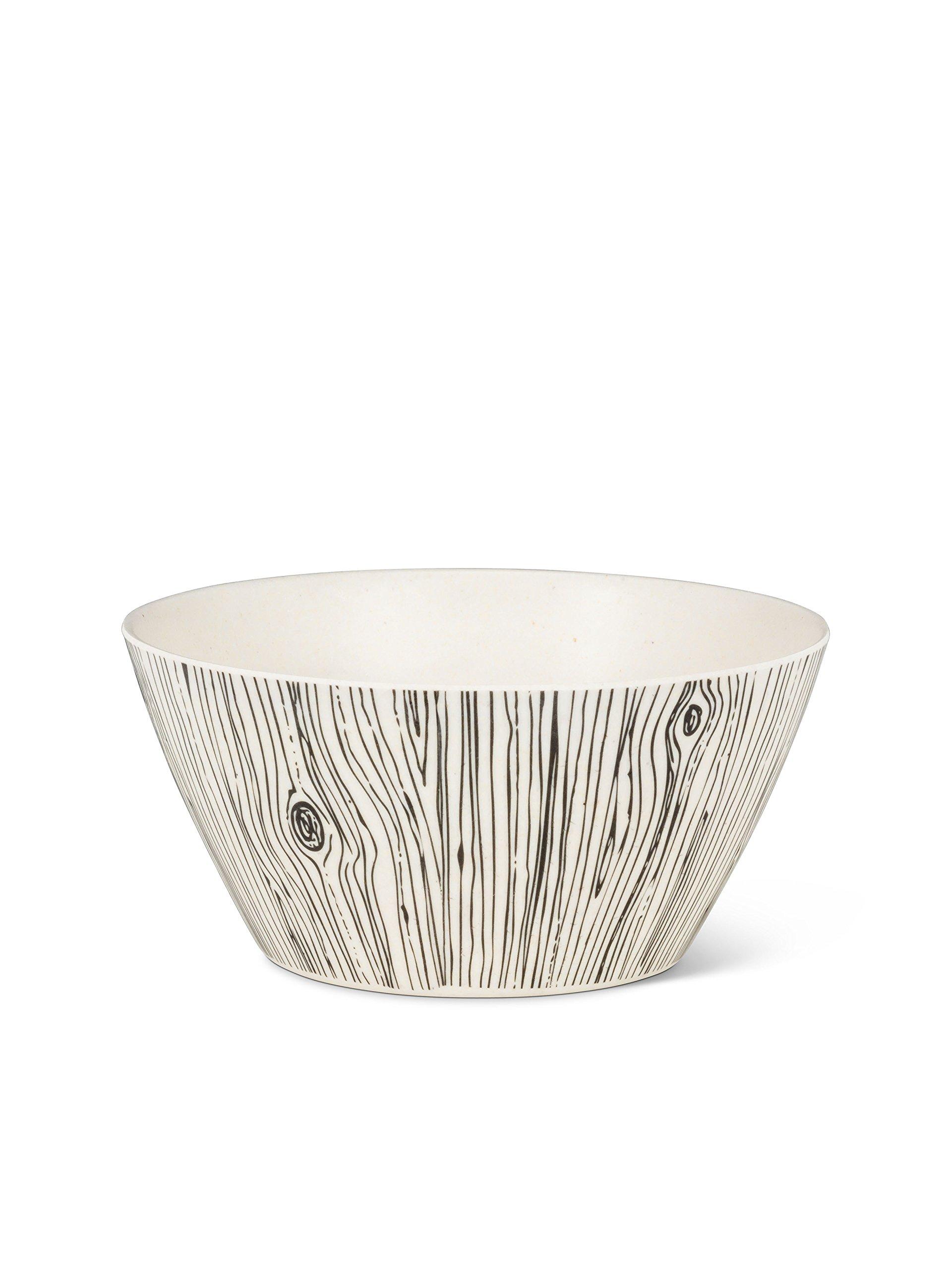 Abbott Collection 1227-NATURE/1407 Small Wood Grain Bowls, 5'', Black/White