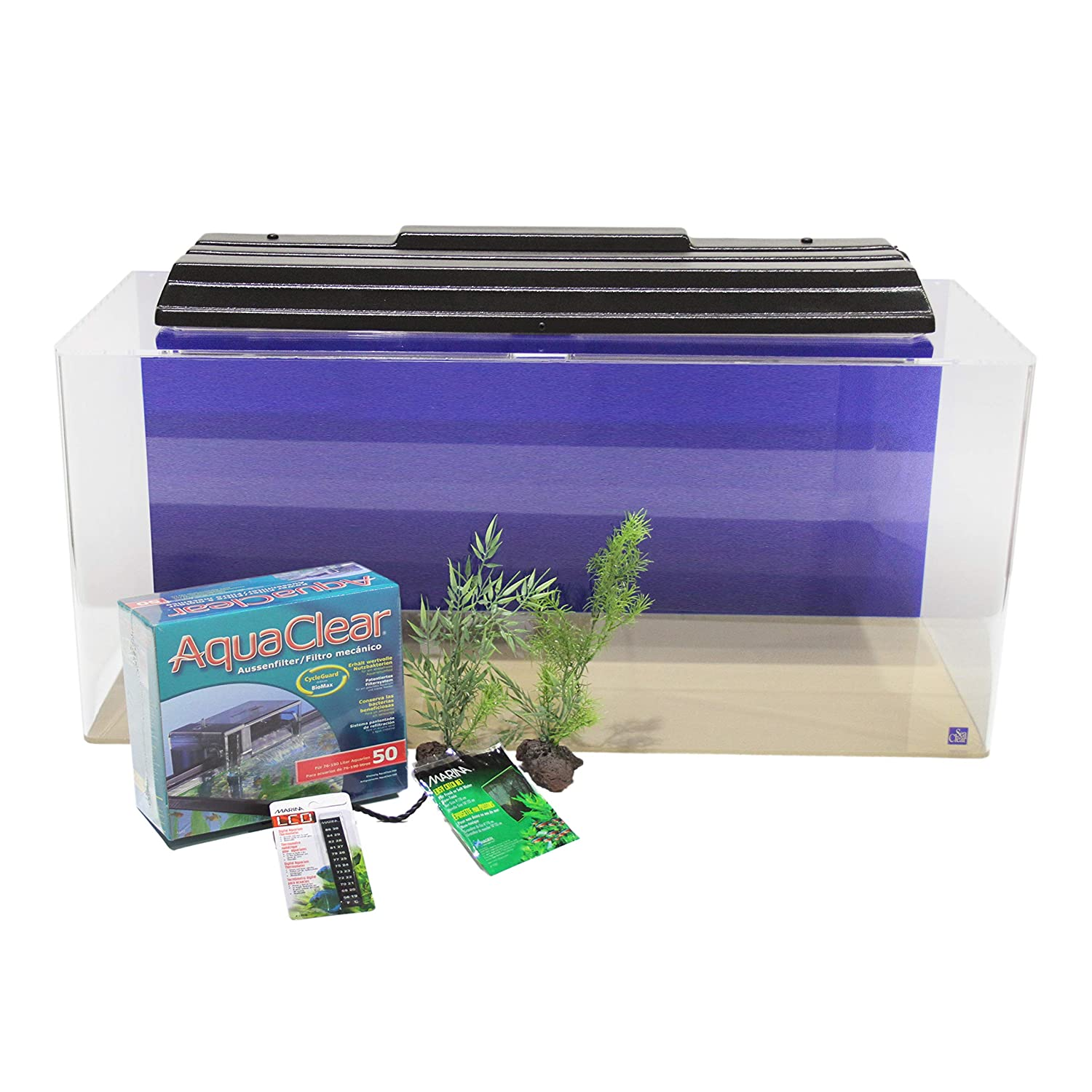 North American Pet Products 40 gallons Show Acrylic Aquarium Junior Executive Kit, 36 by 15 by 16-Inch, Cobalt bluee