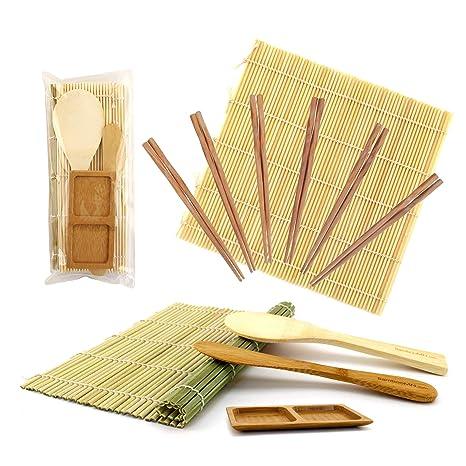 BambooMN hacer Sushi Kit 2 x bambú Rolling alfombrillas, 1 x arroz Paddle, 1