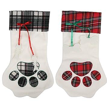Kesoto 2 Calcetín de Navidad en Forma de Pata de Perro Calcetín de Navidad para Regalo Calcetines Decorativos para Hogar, Conjunto en 2, ...
